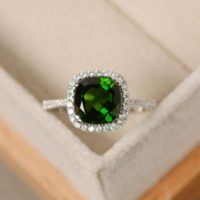 Natural Chrome Diopside Ring, Cushion Cut Gemstone, Engagement Ring, Green Gemstone Ring | Natural genuine Gemstone jewelry. Buy handcrafted artisan wedding jewelry.  Unique handmade bridal jewelry gift ideas. #jewelry #beadedjewelry #gift #crystaljewelry #shopping #handmadejewelry #wedding #bridal #jewelry #affiliate #ad