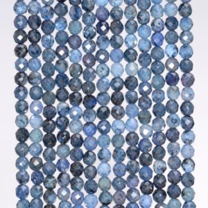 Shop Dumortierite Beads! 3mm South Africa Blue Dumortierite Gemstone Grade AAA Micro Faceted Blue Round Loose Beads 15 inch Full Strand (80004636-344) | Natural genuine faceted Dumortierite beads for beading and jewelry making.  #jewelry #beads #beadedjewelry #diyjewelry #jewelrymaking #beadstore #beading #affiliate #ad