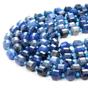 Shop Dumortierite Beads! 8MM Natural Dumortierite Gemstone Grade AAA Faceted Prism Double Point Cut Loose Beads (D31) | Natural genuine faceted Dumortierite beads for beading and jewelry making.  #jewelry #beads #beadedjewelry #diyjewelry #jewelrymaking #beadstore #beading #affiliate #ad