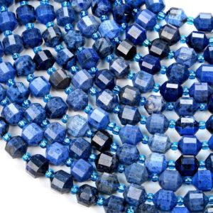 Shop Dumortierite Beads! 8MM Natural Dumortierite Gemstone Grade AAA Faceted Prism Double Point Cut Loose Beads BULK LOT 1,2,6,12 and 50 (D31) | Natural genuine faceted Dumortierite beads for beading and jewelry making.  #jewelry #beads #beadedjewelry #diyjewelry #jewelrymaking #beadstore #beading #affiliate #ad