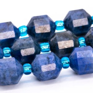 """Shop Dumortierite Beads! 8x7MM Blue Dumortierite Beads Faceted Bicone Barrel Drum Grade AA Genuine Natural Loose Beads 15.5"""" / 7.5"""" Bulk Lot Options (115625) 