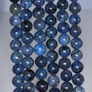 Shop Dumortierite Beads! 10mm South Africa Blue Dumortierite Gemstone Grade AAA Dark Blue Round 10mm Loose Beads 7.5 inch Half Strand (80004206 H-115) | Natural genuine round Dumortierite beads for beading and jewelry making.  #jewelry #beads #beadedjewelry #diyjewelry #jewelrymaking #beadstore #beading #affiliate #ad