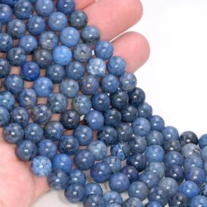 Shop Dumortierite Beads! 8mm Rare Light Blue Dumortierite Gemstone Grade AAA Blue Round 8mm Loose Beads 15.5 inch Full Strand LOT (80004629-115) | Natural genuine round Dumortierite beads for beading and jewelry making.  #jewelry #beads #beadedjewelry #diyjewelry #jewelrymaking #beadstore #beading #affiliate #ad