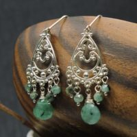 Emerald Earrings Sterling Silver Wire Wrapped Natural Green Gemstones Bohemian Statement Chandeliers Birthday Mother's Day Gift For Her 6367 | Natural genuine Gemstone jewelry. Buy crystal jewelry, handmade handcrafted artisan jewelry for women.  Unique handmade gift ideas. #jewelry #beadedjewelry #beadedjewelry #gift #shopping #handmadejewelry #fashion #style #product #jewelry #affiliate #ad