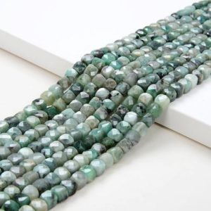 Shop Emerald Faceted Beads! 4-5MM Genuine Emerald Gemstone Grade A Micro Faceted Square Cube Loose Beads (P3) | Natural genuine faceted Emerald beads for beading and jewelry making.  #jewelry #beads #beadedjewelry #diyjewelry #jewelrymaking #beadstore #beading #affiliate #ad