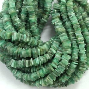 """Shop Emerald Bead Shapes! Good Quality 16"""" Long Strand Natural Emerald  Heishi Beads,Smooth Square Beads,Emerald Beads, 5-6 MM Size Gemstone Beads, Wholesale Price 