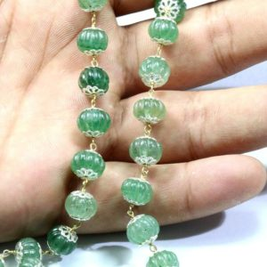 Shop Emerald Bead Shapes! Natural Green Emerald  Carved Beads Metal Rosary Chain 10×8 Mm Size | Natural genuine other-shape Emerald beads for beading and jewelry making.  #jewelry #beads #beadedjewelry #diyjewelry #jewelrymaking #beadstore #beading #affiliate #ad