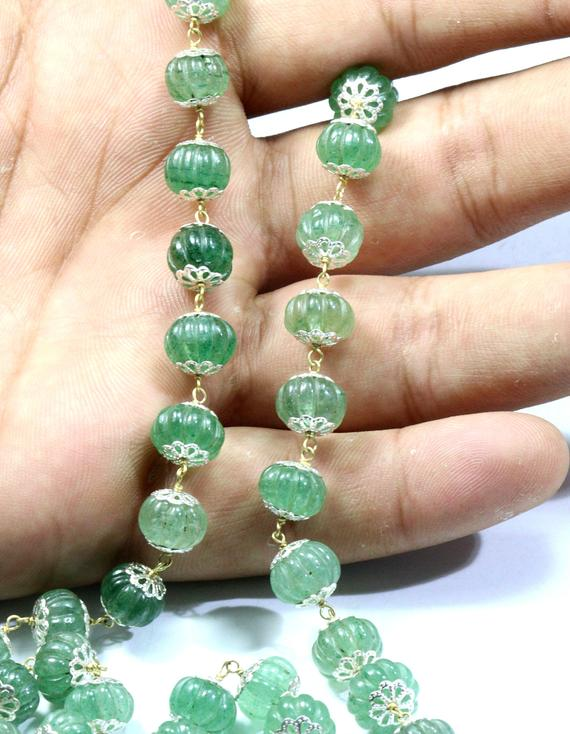 Natural Green Emerald Carved Beads Metal Rosary Chain 10x8 Mm Size