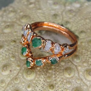 Alternative emerald engagement rings, wedding ring set, bands stackable raw crystal unique present minimalist promise chevron ring | Natural genuine Array rings, simple unique alternative gemstone engagement rings. #rings #jewelry #bridal #wedding #jewelryaccessories #engagementrings #weddingideas #affiliate #ad