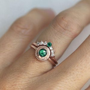 Green Emerald Ring with Matching Curved Diamond Band, Emerald Engagement Ring with Diamonds, Boho Ring Set | Natural genuine Gemstone rings, simple unique alternative gemstone engagement rings. #rings #jewelry #bridal #wedding #jewelryaccessories #engagementrings #weddingideas #affiliate #ad