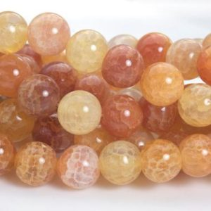 red sunset smooth fire agate round  beads – sunset glow dragon vein agate  beads – fire crackle gemstone beads – 6-14mm round beads -15inch | Natural genuine round Gemstone beads for beading and jewelry making.  #jewelry #beads #beadedjewelry #diyjewelry #jewelrymaking #beadstore #beading #affiliate #ad