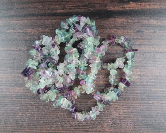 Fluorite Gemstone Beads, Crystal Chips Bag Of 50 Pieces, Full Strand, Reiki Infused A Extra Grade Fluorite Beads