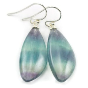 Shop Fluorite Earrings! Fluorite Earrings Smooth Teardrop Sterling Silver or 14k solid gold or filled Flourite Natural Purple Striped Curved Teal Purple Green Drops | Natural genuine Fluorite earrings. Buy crystal jewelry, handmade handcrafted artisan jewelry for women.  Unique handmade gift ideas. #jewelry #beadedearrings #beadedjewelry #gift #shopping #handmadejewelry #fashion #style #product #earrings #affiliate #ad