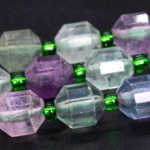 """Shop Fluorite Faceted Beads! 8x7MM Multicolor Fluorite Beads Faceted Bicone Barrel Drum Grade AA Genuine Natural Loose Beads 15.5"""" / 7.5"""" Bulk Lot Options (115633) 