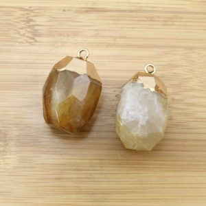 Shop Fluorite Pendants! Yellow Faceted Crystal Pendant Stone Pendant with golden Electroplated Edges Nature  fluorite Druzy pendant for necklace, DIY Jewelry-TR228 | Natural genuine Fluorite pendants. Buy crystal jewelry, handmade handcrafted artisan jewelry for women.  Unique handmade gift ideas. #jewelry #beadedpendants #beadedjewelry #gift #shopping #handmadejewelry #fashion #style #product #pendants #affiliate #ad