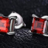 Natural Garnet Earrings, 925 Sterling Silver Earrings. Natural Garnet Earring, Natural Gemstone Square Cut 4*4 Mm | Natural genuine Gemstone jewelry. Buy crystal jewelry, handmade handcrafted artisan jewelry for women.  Unique handmade gift ideas. #jewelry #beadedjewelry #beadedjewelry #gift #shopping #handmadejewelry #fashion #style #product #jewelry #affiliate #ad