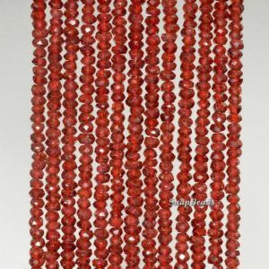 Shop Garnet Faceted Beads! 3x2mm-4x2mm Red Garnet Light Gemstone Grade AAA Faceted Rondelle Loose Beads 14 inch Full Strand (90187183-95) | Natural genuine faceted Garnet beads for beading and jewelry making.  #jewelry #beads #beadedjewelry #diyjewelry #jewelrymaking #beadstore #beading #affiliate #ad