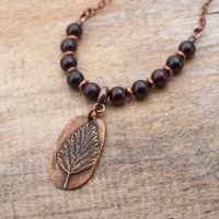 Copper Tree Necklace With Dark Red Garnet Beads And Copper Chain, 19 1 / 2 Inches Long | Natural genuine Gemstone jewelry. Buy crystal jewelry, handmade handcrafted artisan jewelry for women.  Unique handmade gift ideas. #jewelry #beadedjewelry #beadedjewelry #gift #shopping #handmadejewelry #fashion #style #product #jewelry #affiliate #ad