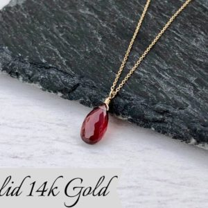 Garnet Necklace, January Birthstone, Red Garnet Pendant, Solid 14k Gold, Dainty Drop Gemstone, Real Gold Necklace, Minimalist Gift for her | Natural genuine Array jewelry. Buy crystal jewelry, handmade handcrafted artisan jewelry for women.  Unique handmade gift ideas. #jewelry #beadedjewelry #beadedjewelry #gift #shopping #handmadejewelry #fashion #style #product #jewelry #affiliate #ad