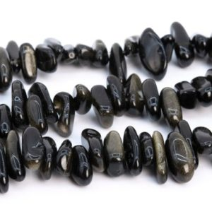 """Shop Golden Obsidian Beads! 12-24×3-5MM Gold Sheen Obsidian Beads Stick Pebble Chip Genuine Natural Grade AAA Gemstone Loose Beads 16"""" / 8"""" Bulk Lot Options (112830) 