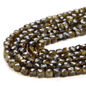 Shop Golden Obsidian Beads! 2MM Golden Obsidian Gemstone Grade AAA  Micro Faceted Cube Loose Beads 16 inch Full Strand (80008521-P8) | Natural genuine faceted Golden Obsidian beads for beading and jewelry making.  #jewelry #beads #beadedjewelry #diyjewelry #jewelrymaking #beadstore #beading #affiliate #ad