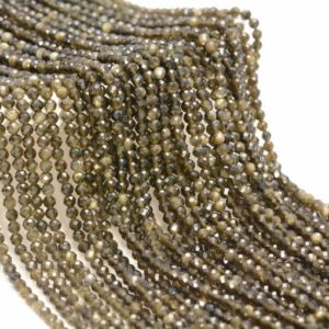 Shop Golden Obsidian Beads! 3MM Golden Obsidian Gemstone Micro Faceted Round Grade Aaa Beads 15.5inch BULK LOT 1,6,12,24 and 48  (80010198-A193) | Natural genuine faceted Golden Obsidian beads for beading and jewelry making.  #jewelry #beads #beadedjewelry #diyjewelry #jewelrymaking #beadstore #beading #affiliate #ad