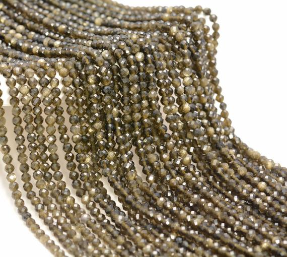 3mm Golden Obsidian Gemstone Micro Faceted Round Grade Aaa Beads 15.5inch Bulk Lot 1,6,12,24 And 48  (80010198-a193)