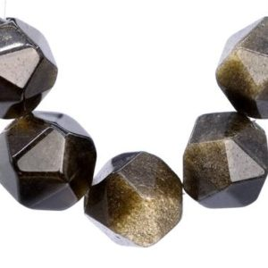 Shop Golden Obsidian Beads! 47 / 23 Pcs – 7-8MM Black Golden Obsidian Beads Star Cut Faceted Grade AAA Genuine Natural Gemstone Loose Beads (103041) | Natural genuine faceted Golden Obsidian beads for beading and jewelry making.  #jewelry #beads #beadedjewelry #diyjewelry #jewelrymaking #beadstore #beading #affiliate #ad