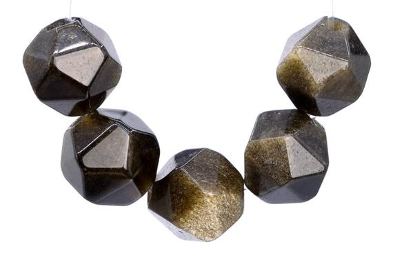 47 / 23 Pcs - 7-8mm Black Golden Obsidian Beads Star Cut Faceted Grade Aaa Genuine Natural Gemstone Loose Beads (103041)