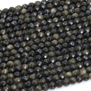 """Shop Golden Obsidian Beads! 4MM Golden Obsidian Beads Grade AAA Genuine Natural Gemstone Faceted Round Loose Beads 15""""/ 7.5"""" Bulk Lot Options (107266) 