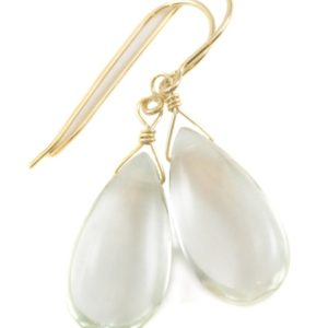 Shop Green Amethyst Earrings! Green Amethyst Earrings Prasiolite Smooth Long Pear Teardrop 14k Solid Gold or Filled or Sterling Silver Simply Daily Pale Soft Green Drop   Natural genuine Green Amethyst earrings. Buy crystal jewelry, handmade handcrafted artisan jewelry for women.  Unique handmade gift ideas. #jewelry #beadedearrings #beadedjewelry #gift #shopping #handmadejewelry #fashion #style #product #earrings #affiliate #ad