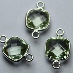 Shop Green Amethyst Beads! 925 Sterling Silver,Natural Green Amethyst Faceted Cushion Shape Connector,3 Piece Of  17mm App.   Natural genuine faceted Green Amethyst beads for beading and jewelry making.  #jewelry #beads #beadedjewelry #diyjewelry #jewelrymaking #beadstore #beading #affiliate #ad