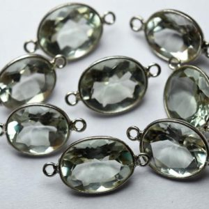 Shop Green Amethyst Beads! 925 Sterling Silver,Natural Green Amethyst Faceted Oval Shape Connector,5 Piece Of  17mm App.   Natural genuine faceted Green Amethyst beads for beading and jewelry making.  #jewelry #beads #beadedjewelry #diyjewelry #jewelrymaking #beadstore #beading #affiliate #ad