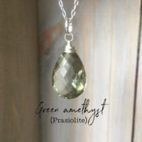 Large Green Amethyst Gemstone Necklace~gemstone Pendant~gemstone Layering Necklace~dainty Necklace~silver Gemstone Necklace | Natural genuine Gemstone jewelry. Buy crystal jewelry, handmade handcrafted artisan jewelry for women.  Unique handmade gift ideas. #jewelry #beadedjewelry #beadedjewelry #gift #shopping #handmadejewelry #fashion #style #product #jewelry #affiliate #ad