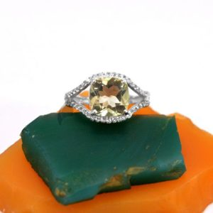 Shop Green Amethyst Rings! Natural Amethyst Ring, 10mm Cushion Green Amethyst Ring, 925 Silver CZ Ring, Round Cut Amethyst Ring, Green Gemstone Ring For Girlfriend | Natural genuine Green Amethyst rings, simple unique handcrafted gemstone rings. #rings #jewelry #shopping #gift #handmade #fashion #style #affiliate #ad