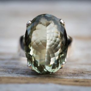 Shop Green Amethyst Rings! Green Quartz Ring 7 – Prasiolite Ring – Green Amethyst Ring – Green Quartz Ring Size 7 – Oval Cut Ring – Oval Green Amethyst Ring Size 7 | Natural genuine Green Amethyst rings, simple unique handcrafted gemstone rings. #rings #jewelry #shopping #gift #handmade #fashion #style #affiliate #ad