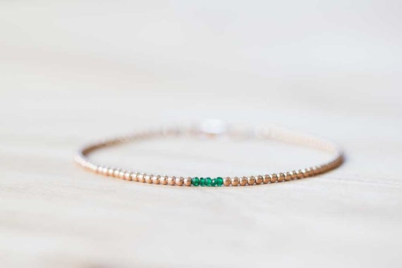 Delicate Rose Gold Filled Bracelet With Green Tourmaline, Dainty Skinny Beaded Chrome Tourmaline Jewelry, Sterling Silver