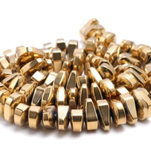 12x5mm Gold Hematite Gemstone Nugget Loose Beads 15 Inch Full Strand (80000181-a42) | Natural genuine chip Hematite beads for beading and jewelry making.  #jewelry #beads #beadedjewelry #diyjewelry #jewelrymaking #beadstore #beading #affiliate #ad