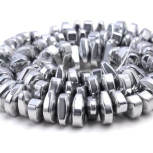 Shop Hematite Chip & Nugget Beads! 12X5MM Silver Hematite Gemstone Nugget Loose Beads 15.5 inch Full Strand (80000182-A42) | Natural genuine chip Hematite beads for beading and jewelry making.  #jewelry #beads #beadedjewelry #diyjewelry #jewelrymaking #beadstore #beading #affiliate #ad