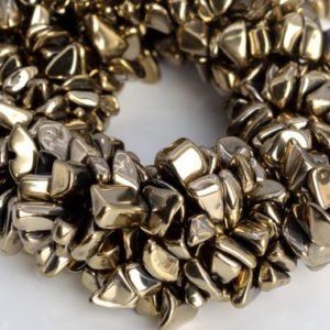 """Shop Hematite Chip & Nugget Beads! 4×3-10x5MM Champagne Gold Hematite Beads Pebble Chips AAA Natural Gemstone Half Strand Loose Beads 8"""" BULK LOT 1,3,5,10,50 (104783h-1311) 