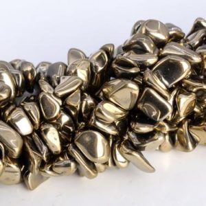 """4×3-10x5MM Champagne Gold Hematite Beads Pebble Chips AAA Natural Gemstone Full Strand Loose Beads 16"""" BULK LOT 1,3,5,10,50 (104783-1311) 
