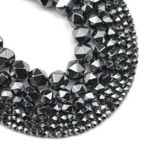 Black Hematite Faceted Beads, Natural Gemstone Beads, Nugget Stone Beads 3mm 4mm 6mm 8mm 10mm 15'' | Natural genuine chip Hematite beads for beading and jewelry making.  #jewelry #beads #beadedjewelry #diyjewelry #jewelrymaking #beadstore #beading #affiliate #ad