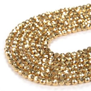 Shop Hematite Faceted Beads! 24k Gold Hematite Gemstone Grade AAA Micro Faceted Round 2MM 3MM 4MM Loose Beads (P12) | Natural genuine faceted Hematite beads for beading and jewelry making.  #jewelry #beads #beadedjewelry #diyjewelry #jewelrymaking #beadstore #beading #affiliate #ad