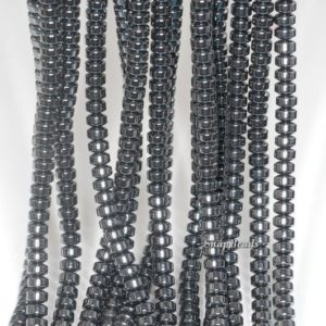 Shop Hematite Rondelle Beads! 6x4mm Black Hematite Gemstone Black Rondelle Heishi 6x4mm Loose Beads 16 inch Full Strand (90188990-149a) | Natural genuine rondelle Hematite beads for beading and jewelry making.  #jewelry #beads #beadedjewelry #diyjewelry #jewelrymaking #beadstore #beading #affiliate #ad