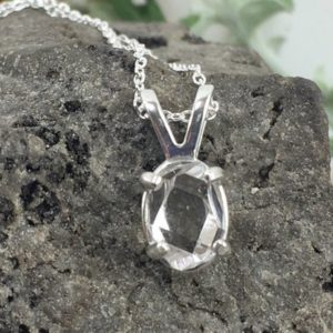 Shop Herkimer Diamond Necklaces! Water Clear Herkimer Diamond Pendant A Grade Raw Natural Uncut Double Terminated Quartz Crystal Herkimer Diamond Petite Necklace with Chain | Natural genuine Herkimer Diamond necklaces. Buy crystal jewelry, handmade handcrafted artisan jewelry for women.  Unique handmade gift ideas. #jewelry #beadednecklaces #beadedjewelry #gift #shopping #handmadejewelry #fashion #style #product #necklaces #affiliate #ad
