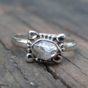 Shop Herkimer Diamond Rings! 925 Sterling Silver Herkimer Diamond Ring Size 9, Herkimer Diamond Dainty Ring, Metaphysical stone ring, Silver Herkimer Jewelry size 9 | Natural genuine Herkimer Diamond rings, simple unique handcrafted gemstone rings. #rings #jewelry #shopping #gift #handmade #fashion #style #affiliate #ad