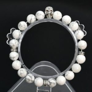 """Shop Howlite Bracelets! 8MM White Howlite Beads Bracelet Grade AAA Genuine Natural Round Gemstone 6"""" with a Skull Charm BULK LOT 1,3,5,10 and 50 (106799h-076) 