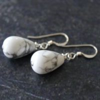 White Teardrop Earrings, White Howlite Earrings, White Howlite Sterling Silver, White Jewelry, White Howlite Jewelry, Howlite Teardrop | Natural genuine Gemstone jewelry. Buy crystal jewelry, handmade handcrafted artisan jewelry for women.  Unique handmade gift ideas. #jewelry #beadedjewelry #beadedjewelry #gift #shopping #handmadejewelry #fashion #style #product #jewelry #affiliate #ad