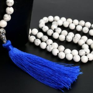 """Shop Howlite Necklaces! 8MM Howlite Mala Beads 108 Pcs Grade AAA Necklace 41"""" Genuine Natural Round Gemstone with Tassel BULK LOT 1,3,5,10,50 (106811-082) 