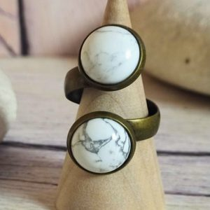 Shop Howlite Rings! White chunky Howlite ring, White stone  resizable ring, One size ring | Natural genuine Howlite rings, simple unique handcrafted gemstone rings. #rings #jewelry #shopping #gift #handmade #fashion #style #affiliate #ad